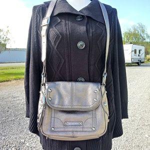 B. Makowsky Leather Shoulder Bag Metallic Dark Gra